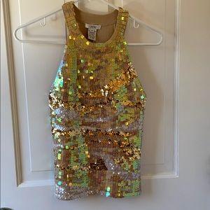 Iridescent Sequin Dressy Tank Top